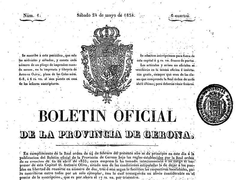 Foto 1 : <p>El BOP de Girona, que gestiona la Diputaci&oacute;, compleix 180 anys</p>