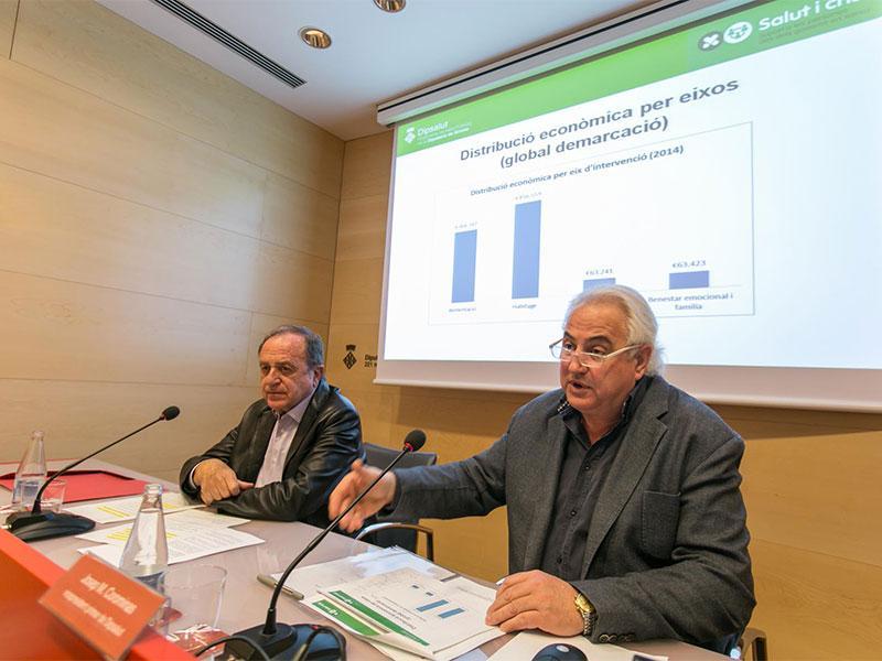 Foto : Imatge: Roda de premsa feta aquest 10 de març a la Diputació de Girona. D'esquerra a dreta: Joan Giraut, president de la Diputació de Girona i de Dipsalut, i Josep M. Corominas, vicepresident primer de Dipsalut. Autor: Eddy Kelele