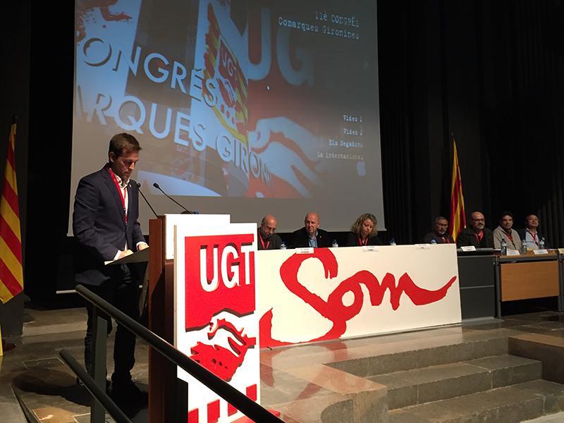 Foto 1 : <p>Jordi Camps destaca l&rsquo;increment d&rsquo;afiliats a la UGT a Catalunya durant l&rsquo;onz&egrave; Congr&eacute;s del sindicat</p>