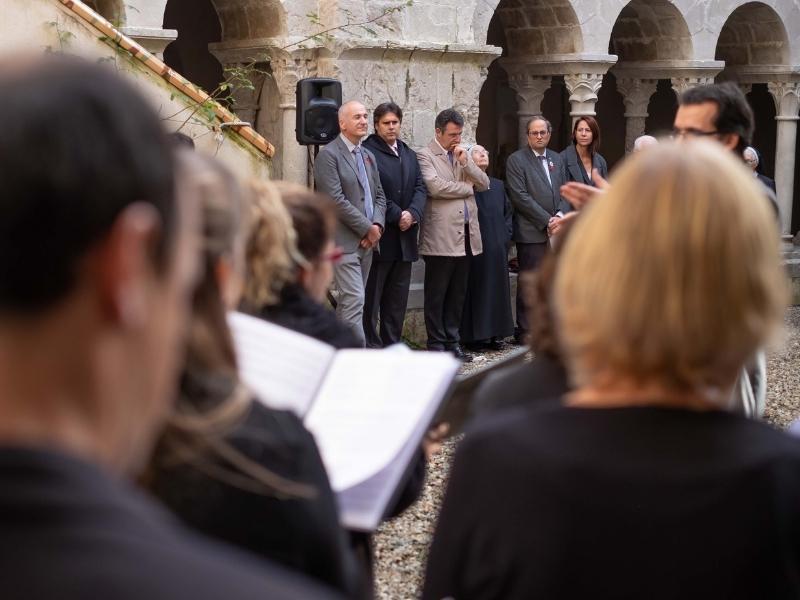 Foto 4: <div>Miquel Noguer assisteix a l'acte de cloenda del Mil·lenari del Monestir de Sant Daniel</div>