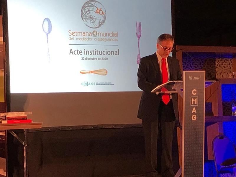 Foto : <p>Miquel Noguer intervé en l'acte institucional de la 46a Setmana Mundial del Mediador d'Assegurances</p>