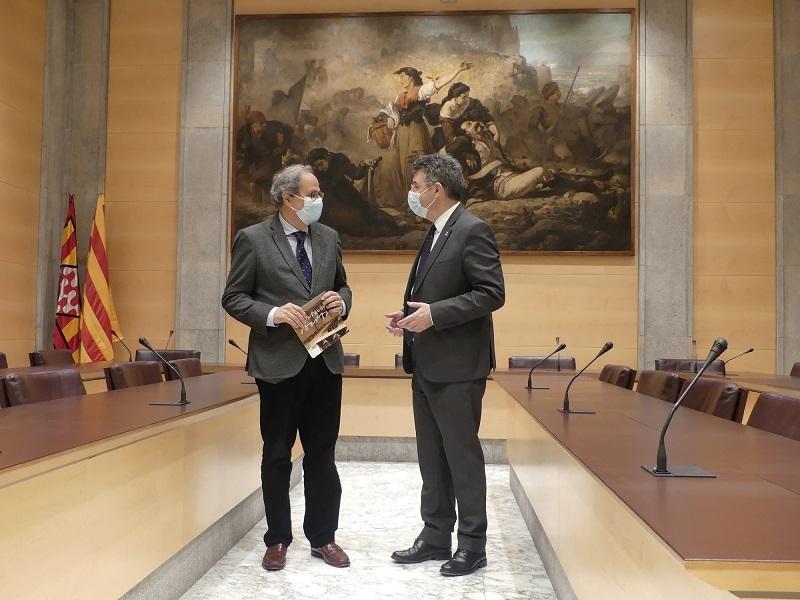 Foto : Trobada institucional entre Miquel Noguer i Quim Torra a la Diputació de Girona
